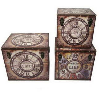 Highly Durable Home Decoration Vintage Rectangle Wooden Base Leather Storage Trunk