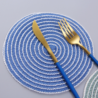 Handmade Home Multi-function Cotton Thread Weaving Padded Table Insulation Pad Round Placemat Table Mat