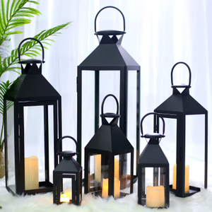 Wedding Decor Metal Black High Quality Polished Decorative Glass Candle Stainless Steel Garden Lantern