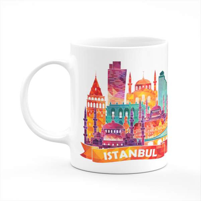 Istanbul Modern Illustration Coffee Tea Mug Gift Printing Sublimation HD Quality
