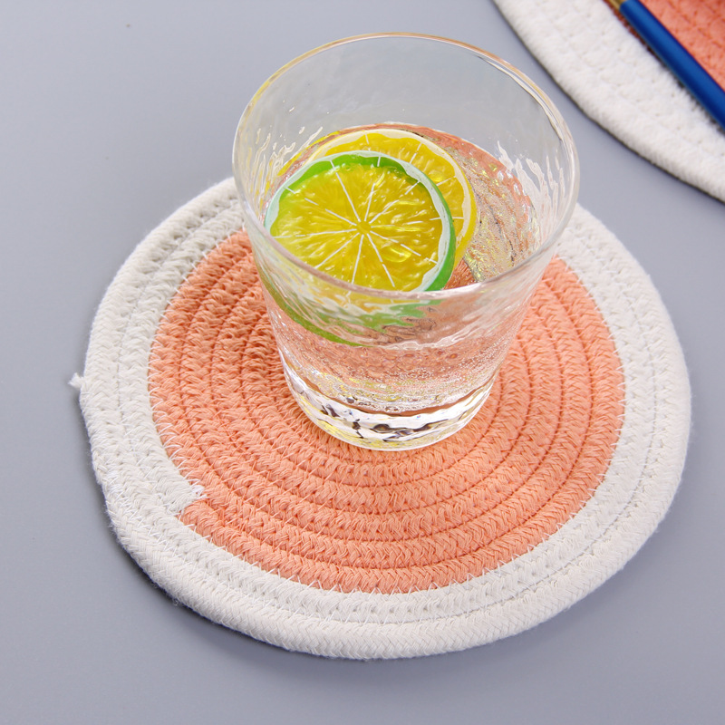 Natural Water Hyacinth Weave Placemat Round Braided Rattan Table Plate Mat