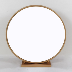 Portal Industrial Metal Gold Wire Frame Round Wall Mirror