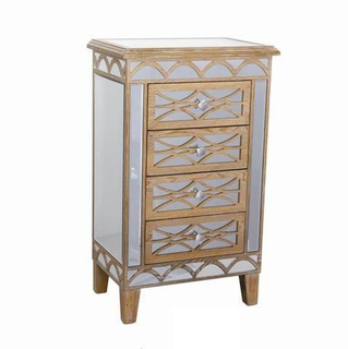 White Small Antique Mirrored Chest Furniture Wholesale