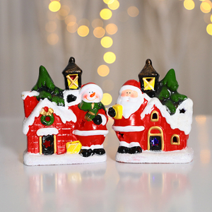 Hot Sale Christmas Ornaments Ceramic Lamp House With LED Light Decoration Gift