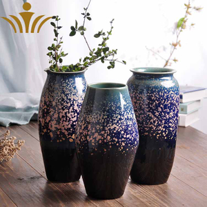 Ceramic Vase Three-piece Set of Creative Sky Star Glaze Chinese Household Ceramic Decoration