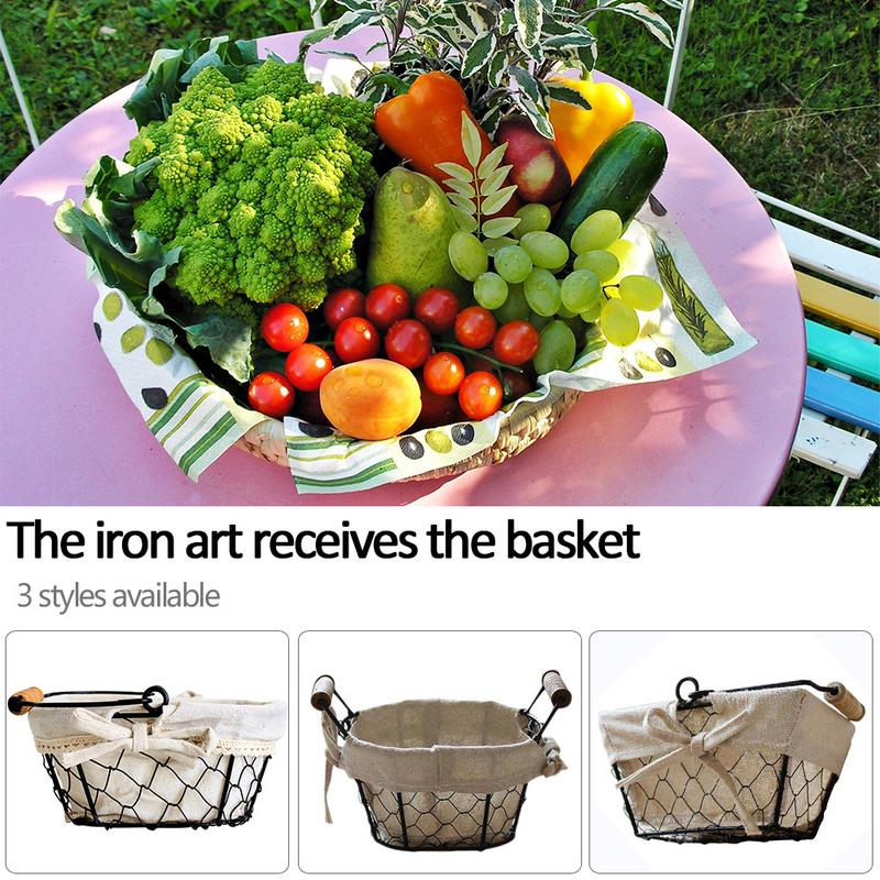 Iron Art Wire Storage The Table Is Decorated with Bread And Cutlery Snacks Storage Basket