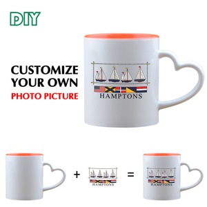 Promotion Sublimation Blank 11oz Rim Color Handle Color Mug