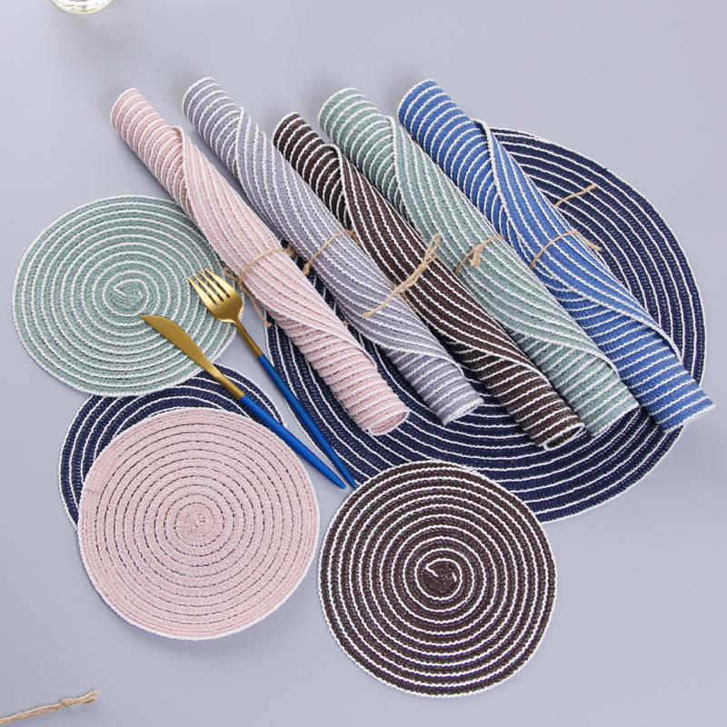 Nordic Style Home Multi-function Weaving Padded Table Insulation Pad Round Placemat Table Mat