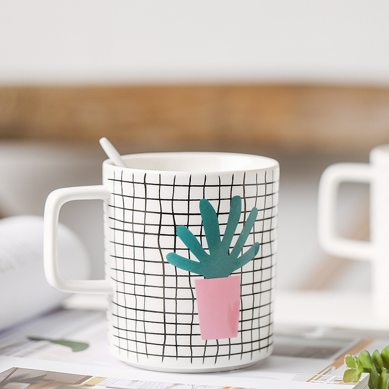 Cartoon Plant Small Fresh Mug Milk Mug Breakfast Mug Water Mug Bone China Potted Mug