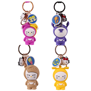 Promotion Custom Own Logo Charms Soft PVC Keyring Chain With Key