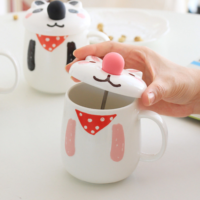 Decorative Ceramic Coffee Tea Mug with Spoon