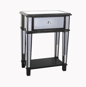 Vintage Modern Black Nickel Metal Mirrored Chest Furniture