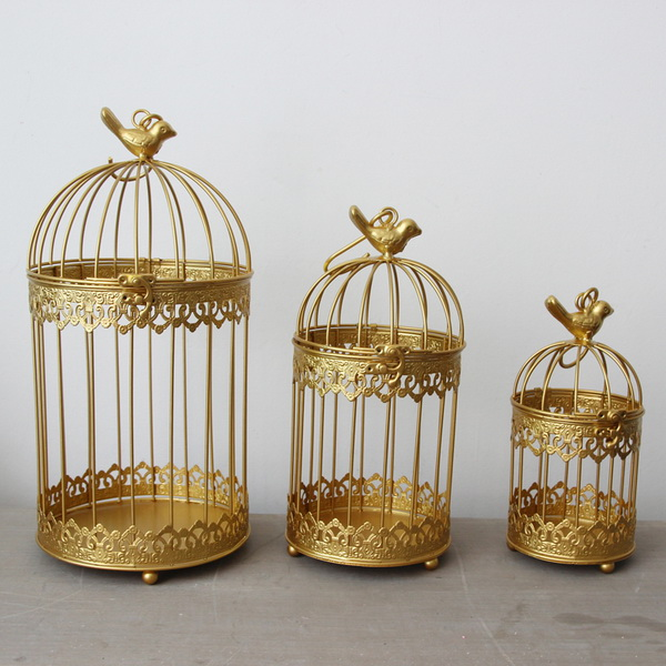 Golden Modern Iron Wrought Metal Birdcage