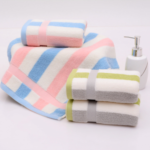 100% Cotton Fancy Hotel Face Towel With Embroidered Stripes For Sale
