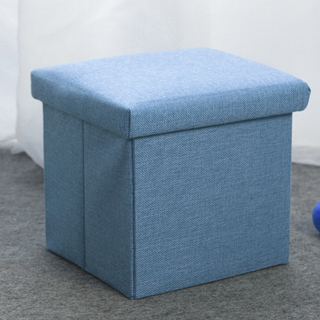 Home Furniture Linen Colorful Foldable Kids Storage Box Ottoman Linen Storage Stool